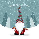 Christmas card with cute gnome stock illustration