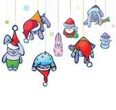Christmas card of cute hang rabbits, Santa and sn Royalty Free Stock Photography