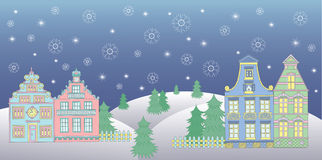 Christmas card with cute houses Stock Photo