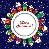 Christmas card with cute houses Royalty Free Stock Image