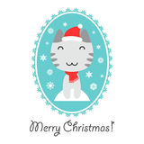 Christmas card with cute kitty Royalty Free Stock Photography