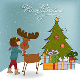 Christmas card with cute little girl caress a rein. Deer. Vector illustration Stock Photo