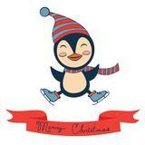 Christmas card with cute little penguin Royalty Free Stock Photography