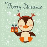 Christmas card with cute little penguin Stock Images