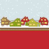 Christmas card, cute little town in winter Stock Images