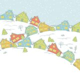 Christmas card, cute little town in winter Stock Photography