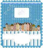 Christmas card, cute little town in winter Royalty Free Stock Photo