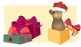 Christmas Card with cute mouse Royalty Free Stock Image