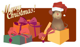 Christmas Card with cute mouse Stock Photo