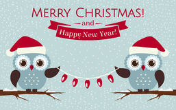 Christmas card with cute owls and a garland. Vector illustration Stock Image