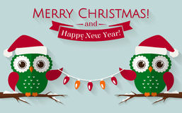 Christmas card with cute owls and a garland. Vector illustration Royalty Free Stock Photography