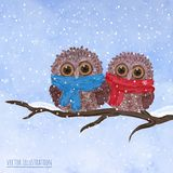 Christmas card with cute owls Stock Photography