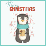 Christmas card with cute penguin Stock Photography