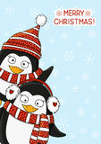 Christmas card with cute penguins Royalty Free Stock Photography