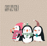 Christmas card with Cute penguins Stock Images
