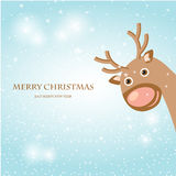 Christmas card with cute reindeer. Royalty Free Stock Image