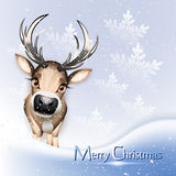 Christmas card with cute reindeer. Christmas blue card with cute reindeer over snow royalty free illustration