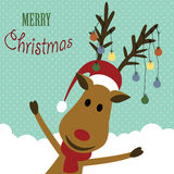 Christmas card. Cute christmas card with reindeer and christmas light Stock Photography