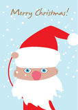 Christmas card with cute santa Royalty Free Stock Photos