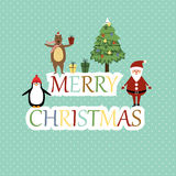 Christmas card. Cute christmas card with Santa, bear and penguin Royalty Free Stock Photography