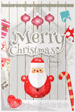 Christmas card. Cute Santa Claus and New Year Symbols and Ornaments on White Wooden Background. Vector Illustration vector illustration