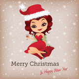 Christmas card with cute santa girl Royalty Free Stock Photo