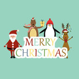 Christmas card. Cute christmas card with Santa, reindeer, bear and penguin stock illustration