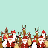 Christmas card. Cute christmas card with Santa, reindeer, bear and penguin Royalty Free Stock Photo