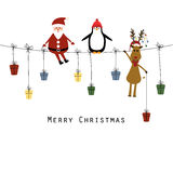 Christmas card. Cute christmas card with Santa, reindeer and penguin Royalty Free Illustration