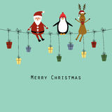 Christmas card. Cute christmas card with Santa, reindeer and penguin stock illustration