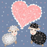 Christmas card with cute sheep and heart on background. Christmas card with cute sheep and heart on purple background Royalty Free Stock Photo