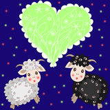 Christmas card with cute sheep and heart on  background Royalty Free Stock Photo