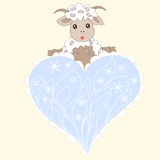 Christmas card with cute sheep and heart Royalty Free Stock Photography