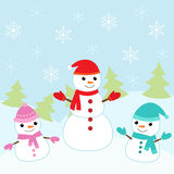 Christmas card with cute snowmen Royalty Free Stock Image