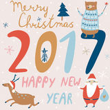 Christmas card. With cute christmas trees, snowflakes, bear, deer and santa in cartoon style. Merry christmas and happy new year card. 2017 new year Stock Illustration