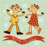 Christmas card with dancing deers Royalty Free Stock Image