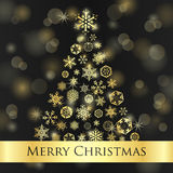 Christmas card with dark background and golden sno Royalty Free Stock Photo