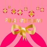 Christmas card decorated with colored balls and golden bow of happy new year, with pink background in Spanish language. 3 stock illustration