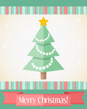 Christmas card with decorated fir tree. Colorful holiday Christmas card with decorated fir tree and red ribbon Stock Image