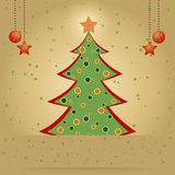 Christmas card with decorated fir tree. And stars Stock Images
