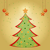 Christmas card with decorated fir tree. And stars Royalty Free Stock Photography