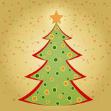 Christmas card with decorated fir tree Royalty Free Stock Images