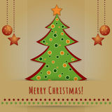 Christmas card with decorated fir tree Royalty Free Stock Photos