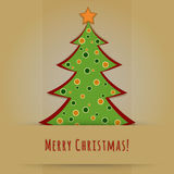 Christmas card with decorated fir tree Stock Photo