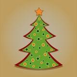 Christmas card with decorated fir tree. On the yellow background Royalty Free Stock Photo