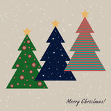Christmas card with decorated fir trees Royalty Free Stock Photo