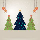 Christmas card with decorated fir trees Royalty Free Stock Images