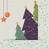 Christmas card with decorated fir trees. And snowfall Stock Photography