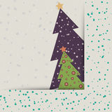 Christmas card with decorated fir trees Royalty Free Stock Photos