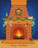 Christmas card with a decorated fireplace. Happy New Year Royalty Free Stock Photography